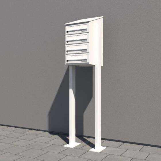 Weißer Briefkasten senkrechter Ausführung 4er Schräg einseitig mit Ständer