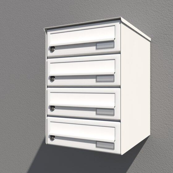 Weißer Briefkasten senkrechter Ausführung 4er Flachdach