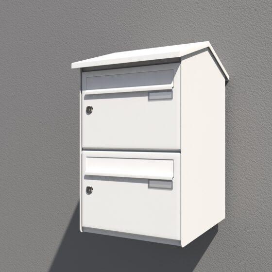 Weißer Briefkasten senkrechter Ausführung
