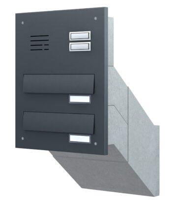 Mauerdurchwurf Briefkasten antrazit 2er mit Klingel und Sprechanlage