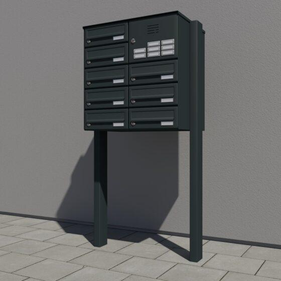 Briefkasten antrazit 8er mit Ständer und Klingelfach