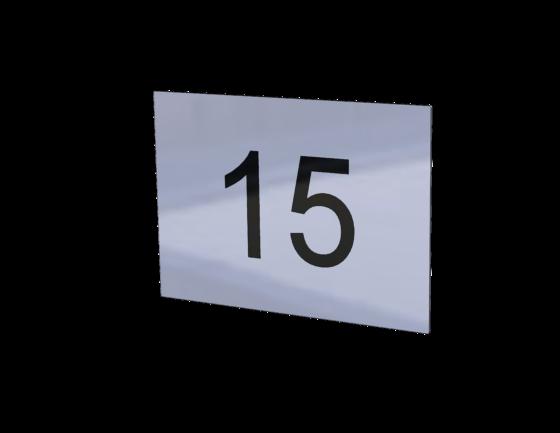 Hausnummerschild 15 aus Edelstahl Gravur